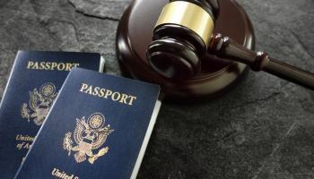 Passport and gavel