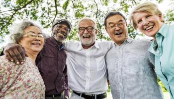 Diverse group of elderly friends