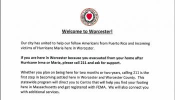 Worcester hurricane evacuee flyer